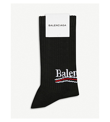 BALENCIAGA Bernie logo-intarsia cotton-blend socks (Black/white