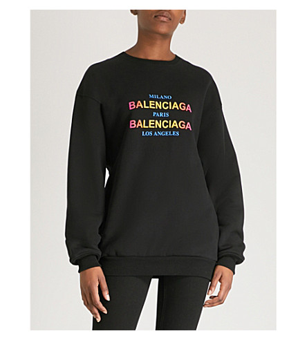 BALENCIAGA Oversized cotton-jersey sweatshirt (Black