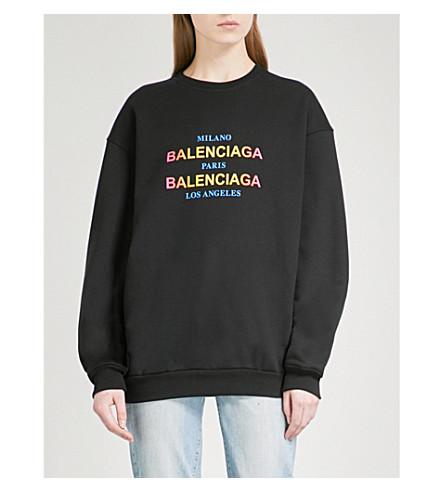 BALENCIAGA Oversized cotton-jersey sweatshirt (Noir
