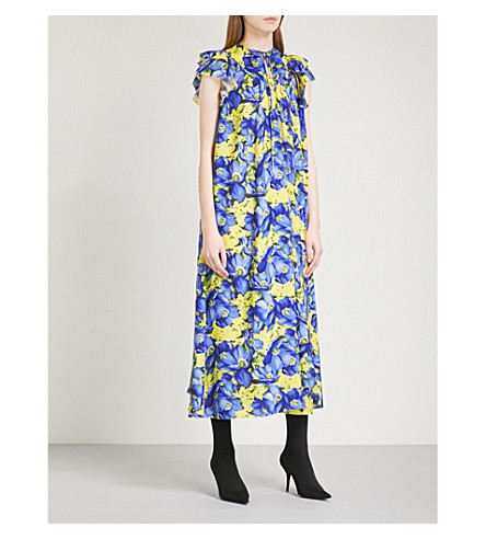 BALENCIAGA Fluid floral-print crepe-de-chine dress (Jaune/violet