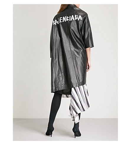 BALENCIAGA Pulled vintage-effect leather coat (Noir+vintage