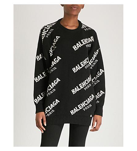 jumper BALENCIAGA Black Boxy BALENCIAGA wool wool logo white blend blend jumper logo Boxy qgAEEwv6