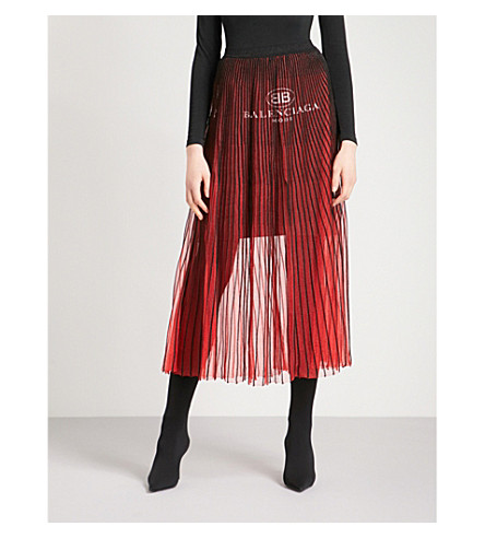 BALENCIAGA Logo-print pleated knitted skirt (Rouge/noir
