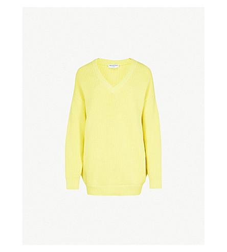 BALENCIAGA V-neck cotton-blend jumper (Jaune