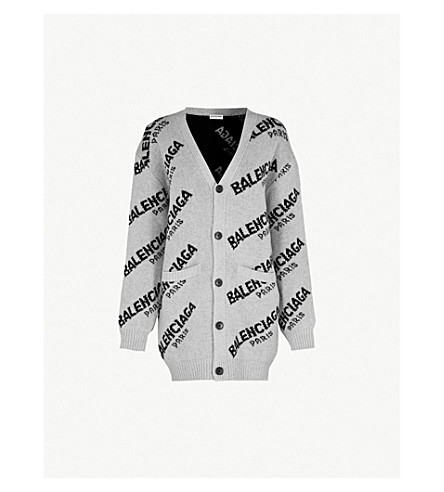 BALENCIAGA Logo-intarsia wool-blend cardigan (Gris+chine/noir