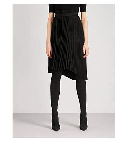 BALENCIAGA Pleated woven skirt (Noir