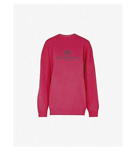 BALENCIAGA Logo-embroidered wool-blend jumper (Bougainvillier