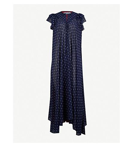 BALENCIAGA Patchwork printed chiffon midi dress (Marine/blanc