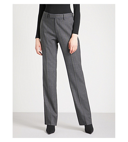 BALENCIAGA High-rise straight wool-blend trousers (Gris