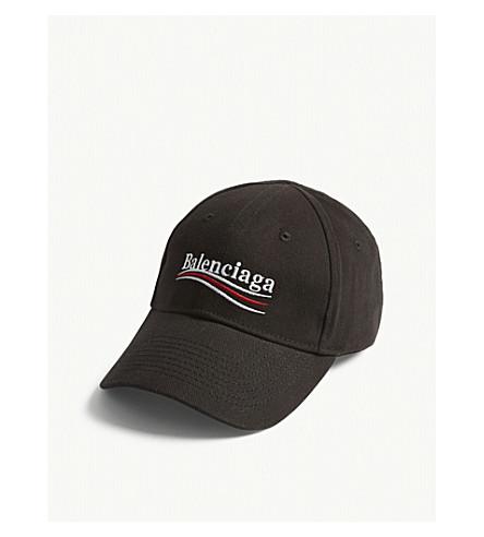 BALENCIAGA Bernie logo cotton strapback cap (Black/white