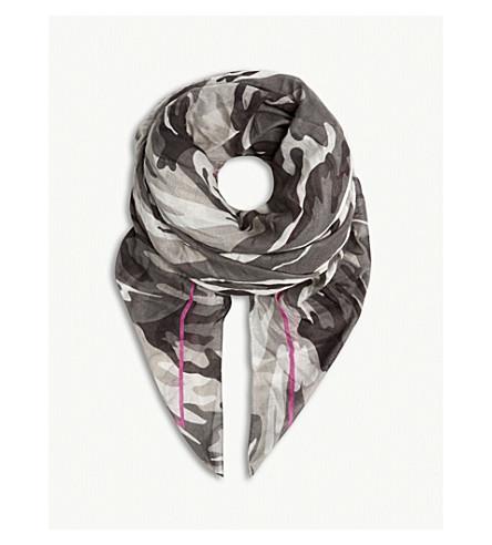 BALENCIAGA Camouflage print modal-silk blend pashmina (Graphite/pink