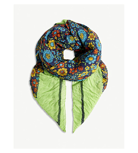 BALENCIAGA Floral print modal-silk blend pashmina (Grass+green/blue