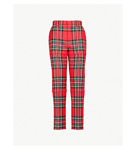 BALENCIAGA Zipped tartan straight wool trousers (Red