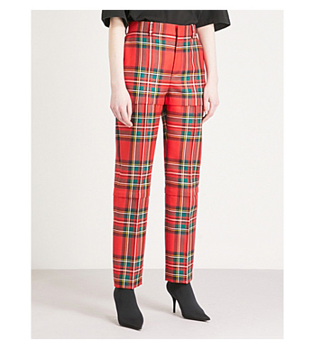 BALENCIAGA Zipped tartan straight wool trousers (Red