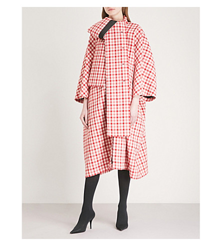 BALENCIAGA Cristobal checked wool-blend coat (Red/white