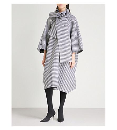 BALENCIAGA Houndstooth wool and silk-blend coat (Black/white