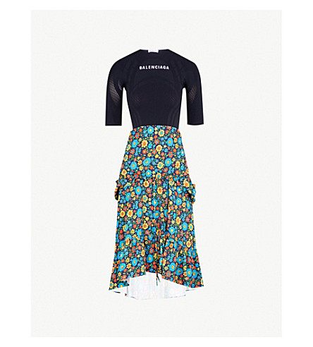 BALENCIAGA Athletic Flowers knitted and twill dress (Marine+blue