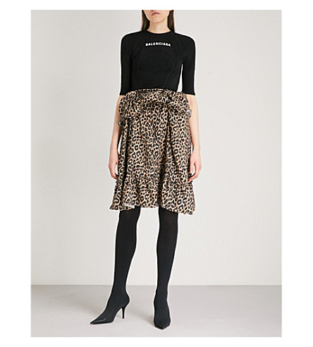 BALENCIAGA Athletic Leopard knitted and woven dress (Beige/black