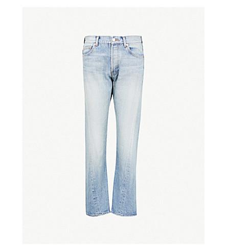 BALENCIAGA Twisted-leg straight mid-rise jeans (Dirt smoke light blue