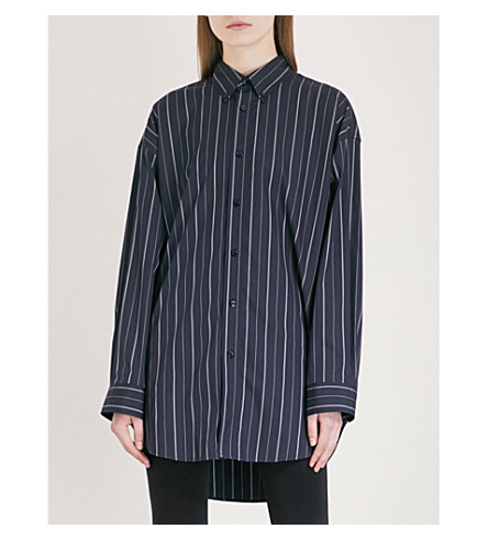BALENCIAGA Oversized striped cotton-blend shirt (Marine/blanc
