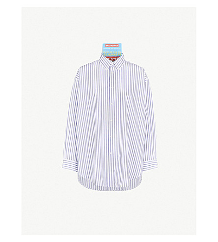 BALENCIAGA Striped oversized cotton shirt (White/blue
