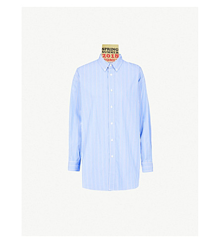 BALENCIAGA Oversized striped cotton-blend shirt (Blue/navy