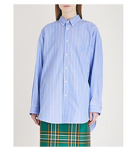 BALENCIAGA Oversized striped cotton-blend shirt (Blue/navy