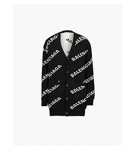 BALENCIAGA徽标嵌花羊毛混纺开襟衫 (黑色/白色
