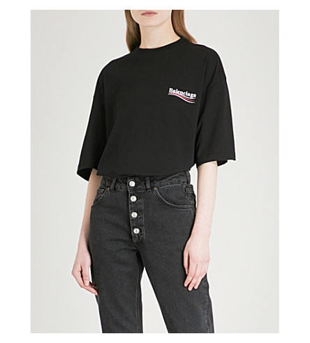 Sale With Credit Card Discount Sale Online Logo-print cotton-jersey T-shirt Balenciaga Discount Fashionable Discounts Online With Mastercard Online QVWHgDZv4S