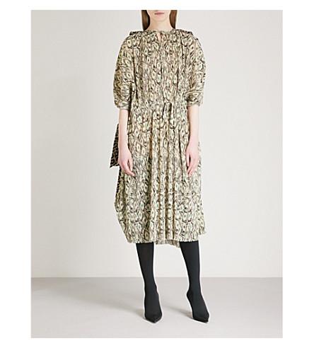 BALENCIAGA Dollar-print woven dress (Beige/black