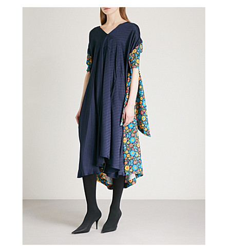 BALENCIAGA Floral-print satin dress (Marine+blue