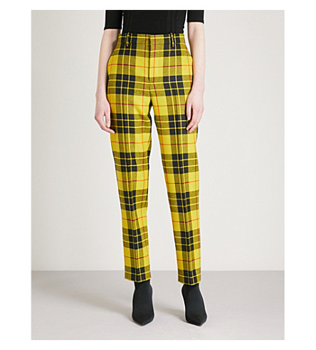 BALENCIAGA Tartan tailored-fit mid-rise wool trousers (Yellow