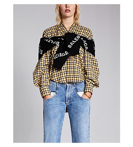 BALENCIAGA新摆动格纹刷棉衬衫 (黄色/黑色