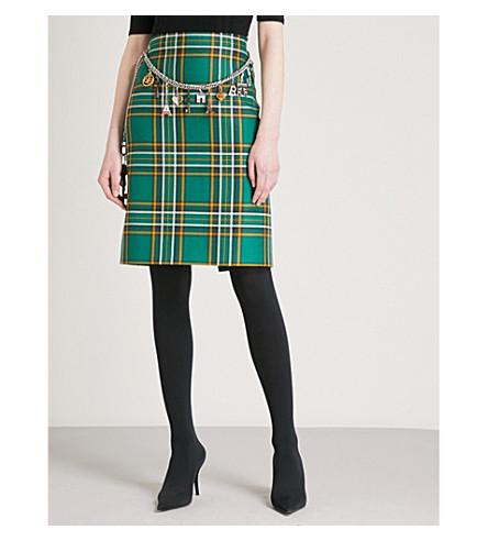 BALENCIAGA Belt-detail tartan high-rise wool skirt (Green