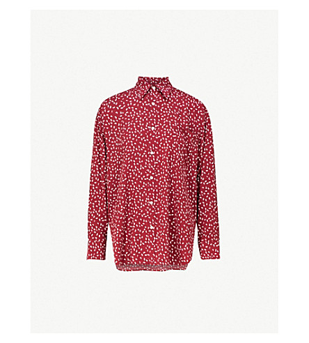 BALENCIAGA Masculin printed cotton-poplin shirt (Bordeaux