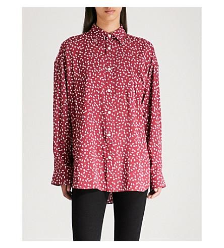 BALENCIAGA Masculin printed cotton-poplin shirt (Bordeaux