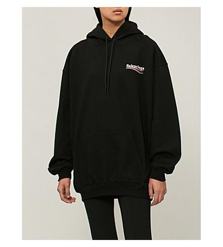y jersey Sudadera con estampada algodón capucha Negro de con BALENCIAGA logo qxHaIBtI