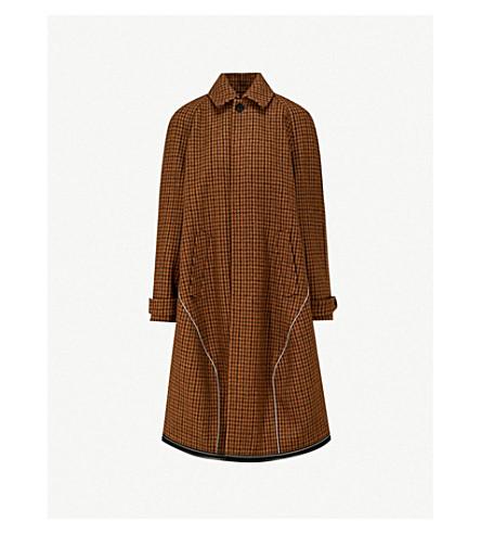 BALENCIAGA Checked wool-blend coat (Brown