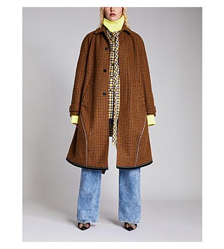 BALENCIAGA 方格羊毛混纺大衣 (棕色