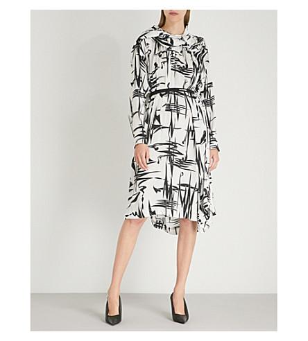BALENCIAGA Twisted printed silk dress (Black/white