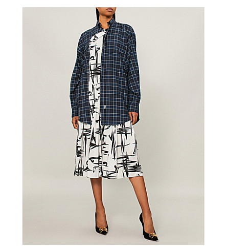 BALENCIAGA Shirt-panel cotton and silk dress (Black/white