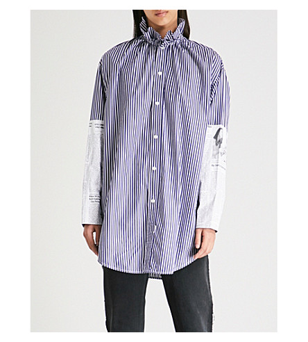 BALENCIAGA 条纹棉府绸衬衫 (海军/白色