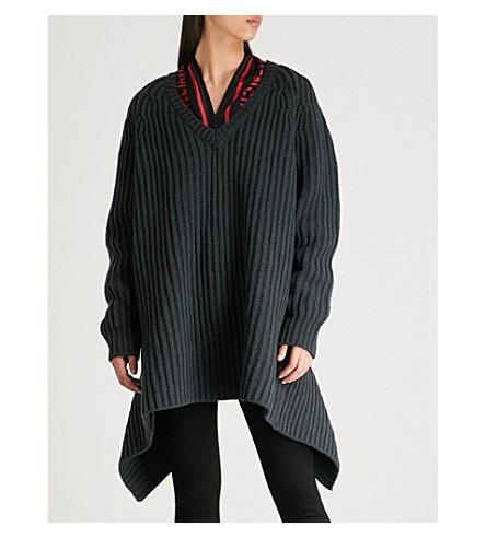 BALENCIAGA Scarf-detailed wool jumper (Dark cypress