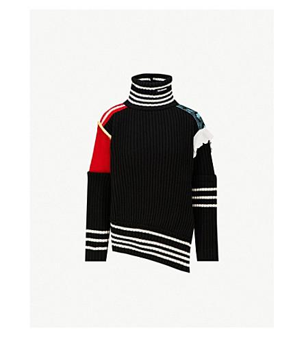 BALENCIAGA Turtleneck wool-knit jumper (Black/red/blue