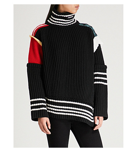 BALENCIAGA Turtleneck wool-knit jumper (Black/red/blue