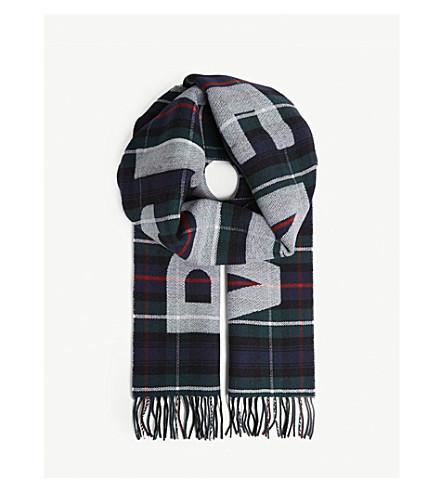 BALENCIAGA Logo tartan wool scarf (Dark+green/blue