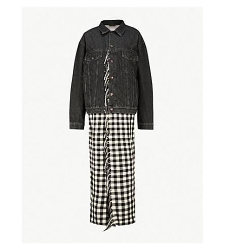 BALENCIAGA Checked blanket-panel denim jacket (Black