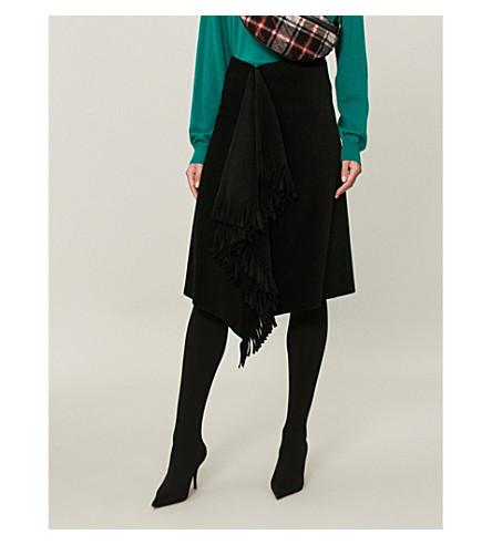 BALENCIAGA Fringed wool and alpaca-blend skirt (Black