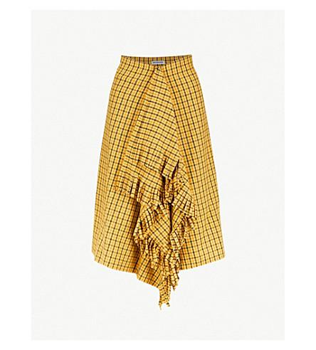 BALENCIAGAHoundstooth 格纹流苏编织裙 (黄色