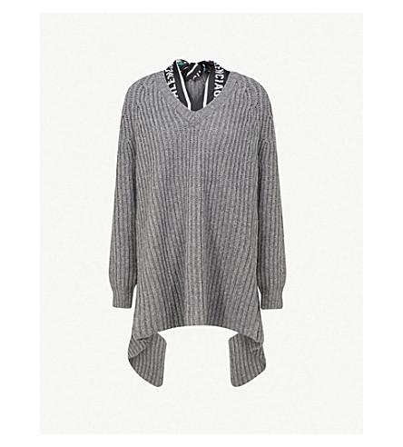 BALENCIAGA Scarf-detailed wool jumper (Grey